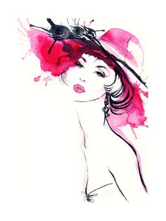 Woman Portrait .Abstract Watercolor .Fashion Background Art Print at AllPosters.com