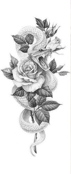 Arm Tattoos Snake, Arm Tattoos Drawing, Snake And Flowers Tattoo, Skull Rose Tattoos, Flower Tattoos, Thigh Sleeve Tattoo, Thigh Piece Tattoos, Rose Tattoo On Arm, Bicep Tattoo