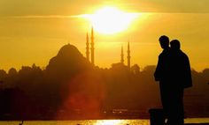 A Quick Summary about the Ottoman Empire: The sun sets over an  mosque in Istanbul, Turkey. Istanbul, which was previously known as Constantinople, was the capital of the Ottoman Empire.