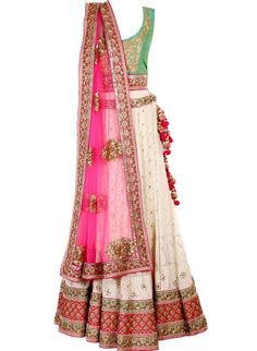 Bridal Lehengas - Light green and off white lehenga with hot pink net dupatta by Frontier Raas | WeMeGood #wedmegood #bridal #lehengas