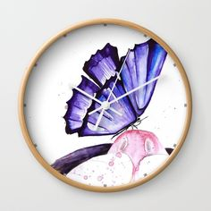 Cat And Butterfly Wall Clock by Salome | Society6