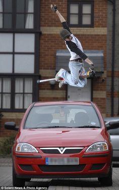 Pogo stick over a car...awesome!!!