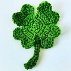 St Patricks Day Crochet Pattern Four Leaf Clover by DenverWhimsy