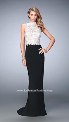 2016 Appliques Black White Open back Chiffon Sheath High-neck Sweep Sleeveless Beading Homecoming / Prom Dresses By LF 21837