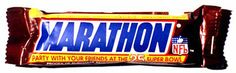Marathon bar. Mars ditched the name in favour of the more 'global' Snickers in 1990. Marathon sounds much more appetising to me.