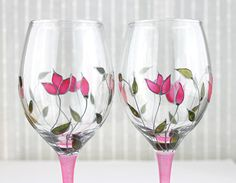 Wine Glasses Wedding Glasses Anniversary Glasses by witchcorner