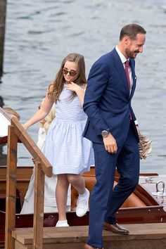 Crown Prince Haakon of Norway, and his daughter Princess Ingrid Alexandra of Norway, on a visit to Trondheim, during the King and Queen of Norway's Silver Jubilee Tour, on June 23, 2016 in Trondheim, Norway.