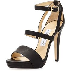 Jimmy Choo Discus Leather Triple-Band Sandal (736 AUD) ❤ liked on Polyvore featuring shoes, sandals, heels, jimmy choo, pumps, black, heeled sandals, wrap sandals, ankle strap heel sandals and ankle strap shoes