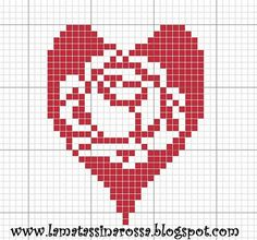 This is beautiful Small Cross Stitch, Cross Stitch Heart, Cross Stitch Flowers, Cross Stitch Bookmarks, Cross Stitch Alphabet, Tapestry Crochet, Crochet Motif, Crochet Stitches Patterns, Cross Stitch Patterns