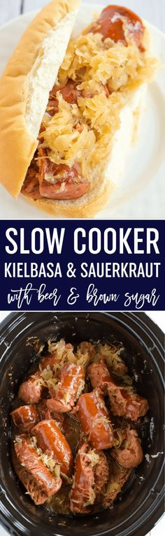Slow Cooker Kielbasa and Sauerkraut is made with just the addition of beer and brown sugar - easy, delicious and perfect for parties! Beer and brown sugar make this kielbasa and sauerkraut an amazing meal - easy, delicious and perfect for parties! Slow Cooker Kielbasa, Slow Cooker Huhn, Crock Pot Slow Cooker, Crock Pot Cooking, Slow Cooker Recipes, Crockpot Recipes, Cooking Recipes, Crock Pots, Cooking Wine