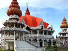 Suriname.A country with many religious faces. Numerous religious buildings are scattered throughout the city.This is the largest Hindu tempel complex.