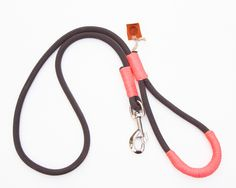 Rope dog leash. Chic Charcoal Gray climbing rope dog leash whipped with colorful Peach Pink cord. Rope Dog lead. by TopologyHandmade on Etsy