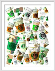 STARBUCK'S  56 Floating Green and Tan CUPS  of COFFEE by EisnerArt