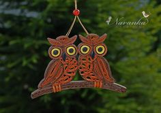 Paper Quilling Owls on a branch in a gift box by NavankaCreations