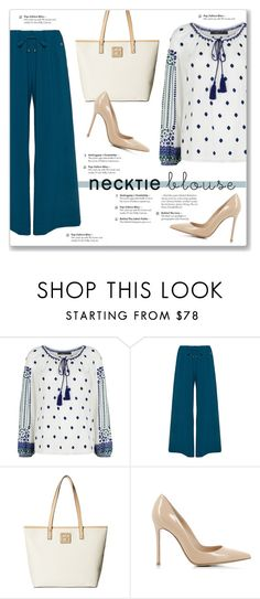 """""""Fall Trend: Necktie Blouse"""" by kellylynne68 ❤ liked on Polyvore featuring BCBGMAXAZRIA, Mat, Calvin Klein, Gianvito Rossi, Fall, blouse, FALLLOOK and necktieblouse"""