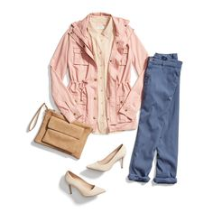 Put your outfit on mute. Try pairing a pale pink jacket with dusty blue trousers to make a quiet (but stylish) statement. #YouStyled