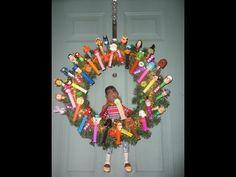 Fun & Cute Pez Candy Dispenser Christmas Wreath