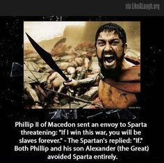 Then came along the battle against Thebes! xD Oh and this picture they're using? Yeah comes from the most un-Spartan movie ever produced. The only thing they got right was that ancient standard of manliness. Historical Quotes, Historical Pictures, Alexander Of Macedon, History Major, Funny History, History Memes, Taylor Swift Music, Unbelievable Facts, Alexander The Great