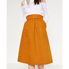 SKIRT WITH GOLD - TONED DETAILS-View All-SKIRTS-WOMAN | ZARA United... ($50) via Polyvore featuring skirts and orange skirt