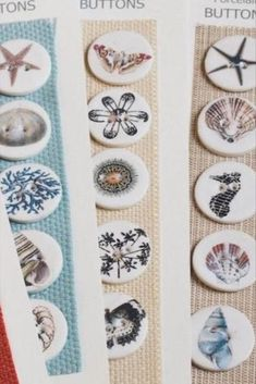 Ceramic buttons handmade from porcelain clay and decorated using platinum and coloured decals with a glazed finish. #BeyondMeasure #button #ceramic #round #shell #butterfly Porcelain Clay, Botanical Drawings, Vintage Prints, Decals, Shell, Butterfly, Buttons, Ceramics, Create