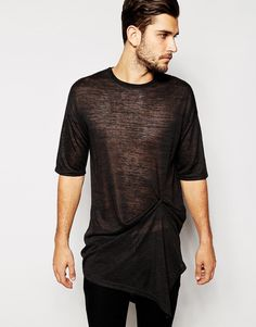 Image 1 ofASOS Super Longline T-Shirt With Popper And Drape Detail
