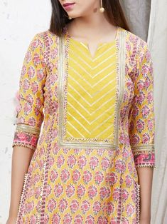 Yellow Pink Hand Block Printed Cotton Kurta with Palazzo- Set of 2 Neck Designs For Suits, Neckline Designs, Dress Neck Designs, Salwar Neck Designs, Blouse Designs, Churidar Designs, Stylish Dress Designs, Designs For Dresses, Stylish Dresses For Girls
