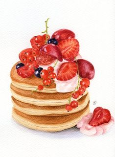 Summer Breakfast - ORIGINAL watercolour painting (Food Watercolors Wall Art…