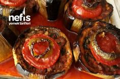 Nefis Ve Çok Hafif Karnıyarık (Bostan Patlıcanlı) Tarifi Turkish Recipes, Italian Recipes, Cream Cheese Pastry, Fish And Meat, Fresh Fruits And Vegetables, Tandoori Chicken, Breakfast Recipes, Food And Drink, Stuffed Peppers