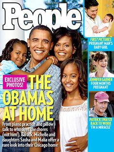 Barack Obama's family on the front cover of People magazine in the August 2008 issue.