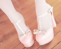 """Find and save images from the """"asian fashion"""" collection by ɴᴀɴᴀ, ❀ (hiroto) on We Heart It, your everyday app to get lost in what you love. Kawaii Fashion, Lolita Fashion, Pink Fashion, Fashion Boots, Cute Shoes, Me Too Shoes, Ballet Shoes, Dance Shoes, Cute Asian Fashion"""