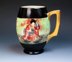 Antique Hand Painted Austria Porcelain Mug with Geisha, PH Leonard Austria, Tankard