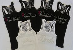 This listing is for 5 tank tops . You can choose any options from below for all of your tanks.  Only Bride have crown back of tank top .    Please