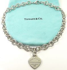 Sterling Silver TIFFANY & CO Return To Tiffany HEART TAG Choker Necklace~POUCH #TiffanyCo #Choker