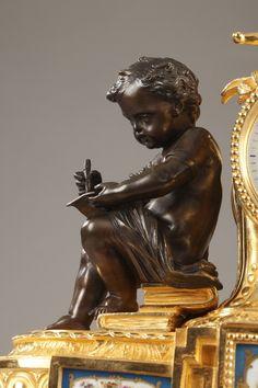 Napoleon III Bronze and Porcelain Clock in Louis XVI Style