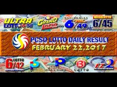 PCSO LOTTO RESULTS FEBRUARY 22, 2017 (EZ2, SWERTRES, 4D, 6/45 & 6/55) Lotto Results, Oita, February 6th, Youtube, Draw, To Draw, Sketches, Painting, Youtubers