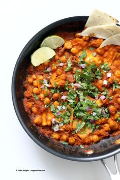 Vegan Chilaquiles with spiced Chickpeas. Spiced Chickpeas and crisped tortilla…