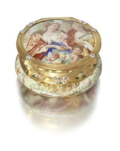 "A 17th and 18th century enamel and gold mounted ""watch case"" snuff box the watch case circa 1650, the gold mount circa 1740"