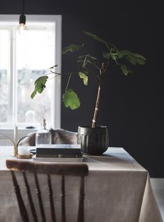 dark blue wall in the kitchen / dining area of the home of Anna Kvarnström.