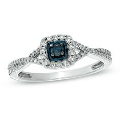 1/7 CT. T.W. Enhanced Blue and White Diamond Criss-Cross Frame Ring in Sterling Silver – Size 7    <3
