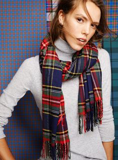 Lands' End Presents the Tartan Collection Fall 2014: A CASHMERE TURTLENECK UNDER A CASH-TOUCH SCARF