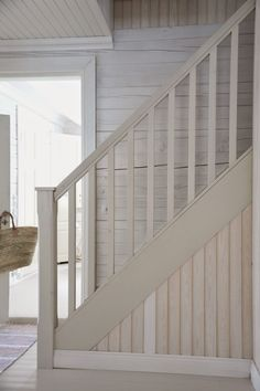 How do you build a closet organizer? Wood Railings For Stairs, Stairs And Staircase, Basement Stairs, Banisters, Stair Railing, Staircase Design, Banister Remodel, Painted Staircases, Build A Closet