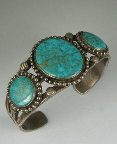 Early Navajo 3 Stunning Blue Gem Mine Turquoise Bracelet