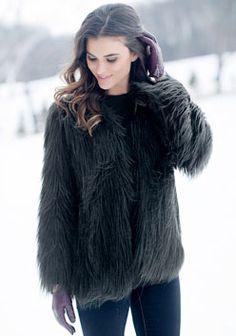 065deb9ea646 Black Goat Collarless Faux Fur Jacket - Donna Salyers  Fabulous Furs   fauxfur  FabulousFurs