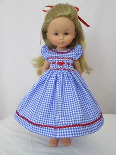 Smocked Doll Dress-13 Effner Little Darling-Les Cheries-Blue Gingham Hearts-SJ