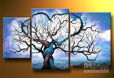 Wholesale Art Modern Abstract Oil Painting Botanical Wall Decor Triptych, Free shipping, $39.71-52.44/Set | DHgate