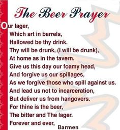 The Beer Prayer (all in good fun)