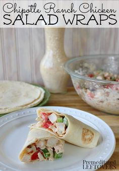 Chipotle Ranch Chicken Salad Wraps Recipe - A delicious twist on chicken salad! This  chicken salad is coated in Chipotle Ranch dressing.