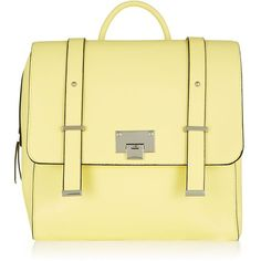 Yellow Square Satchel Backpack featuring polyvore, fashion, bags, backpacks, accessories, backpack, yellow, zippered faux leather satchel, yellow satchel, satchel hand bags, zipper bag and satchel backpack