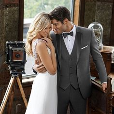 All new for Dark Grey Ike Behar Tuxedo Grey Tuxedo, Slim Fit Tuxedo, Groom Style, Wedding Looks, Black Tie, Formal Wear, Wedding Bells, Wedding Styles, Spring Fashion