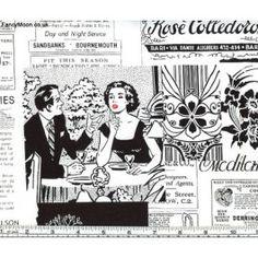 Retro English Press, Poppy, Timeless Treasures Fabric
